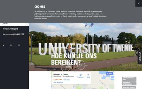 Screenshot of Contact Page utwente.nl - Contact   Universiteit Twente - captured Aug. 22, 2016