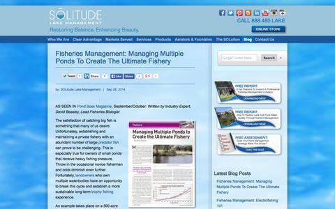Screenshot of Blog solitudelakemanagement.com - Lake And Pond Management Knowledge, Perspectives And SOLutions - captured Sept. 30, 2014