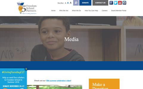 Screenshot of Press Page freedomschoolpartners.org - Media | Freedom School Partners - captured Nov. 6, 2018