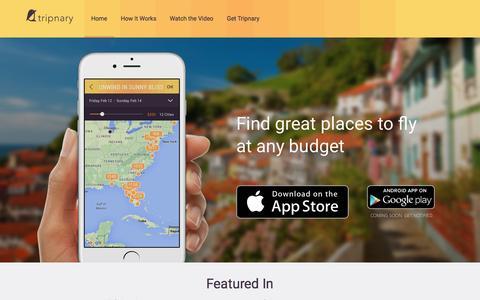 Screenshot of Home Page tripnary.com - Tripnary - captured Feb. 25, 2016