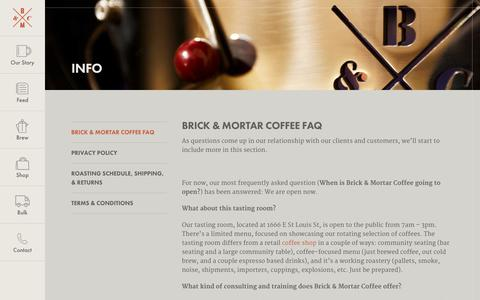 Screenshot of FAQ Page brickandmortarcoffee.com - Frequently Asked Questions | Brick & Mortar Coffee - captured Oct. 11, 2017