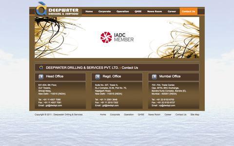 Screenshot of Contact Page dwdspl.com - Deepwater Drilling - captured Oct. 5, 2014