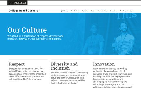 Screenshot of Jobs Page collegeboard.org - Our Culture | College Board Careers - captured Jan. 4, 2019