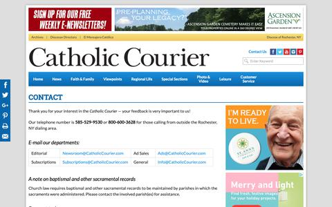 Screenshot of Contact Page catholiccourier.com - Contact | Catholic News & Multimedia | Diocese of Rochester - Catholic Courier - captured Oct. 19, 2018