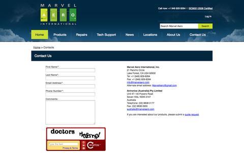 Screenshot of Contact Page marvelaero.com - Marvel Aero - captured Oct. 3, 2014