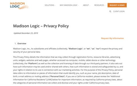 Screenshot of Privacy Page madisonlogic.com - Privacy - Account-Based Marketing from Madison Logic - captured Jan. 7, 2020