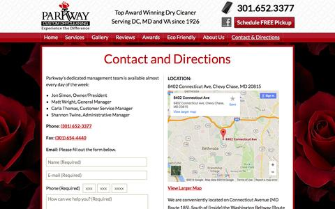 Screenshot of Maps & Directions Page parkwaydrycleaning.com - Parkway Dry Cleaning - 8402 Connecticut Ave, Chevy Chase, MD - captured Jan. 25, 2016