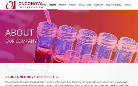 Screenshot of About Page onconova.com - About Our Company - Onconova Therapeutics, Inc. - captured Oct. 19, 2018
