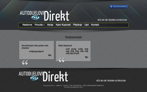 Screenshot of Testimonials Page autodijelovi-direkt.hr - Testimonials «  Autodijelovi Direkt - captured Sept. 30, 2014