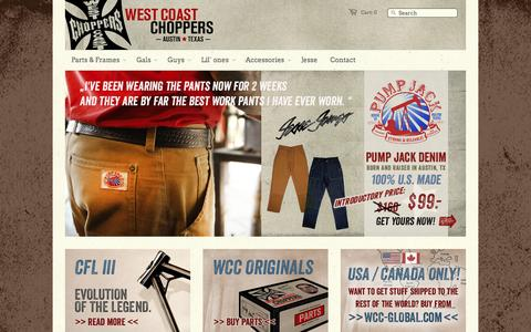 Screenshot of Home Page westcoastchoppers.com - West Coast Choppers - captured Sept. 19, 2014