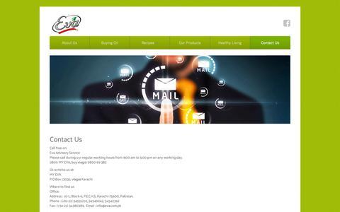 Screenshot of Contact Page eva.com.pk - Contact EVA - 100% Pure Cooking Oil - captured Dec. 3, 2016