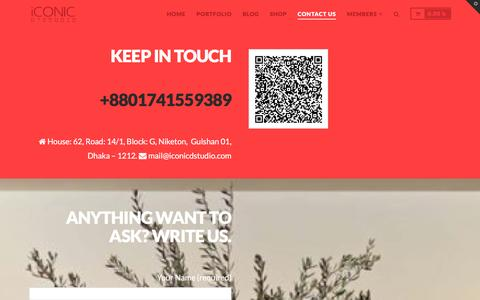Screenshot of Contact Page iconicdstudio.com - Stay Touch | iCONIC D'Studio - captured Jan. 9, 2016