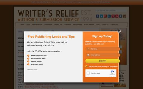 Screenshot of Press Page writersrelief.com - Writer's Relief News | Press Releases, Articles, Information - Writer's Relief, Inc. - captured Sept. 14, 2016