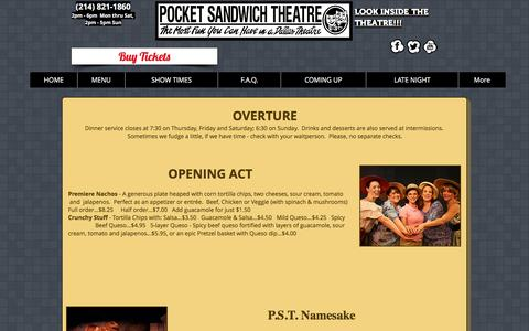 Screenshot of Menu Page pocketsandwich.com - Pocket Sandwich Theatre I Best Live Dinner Theater in Dallas for Plays | MENU - captured April 14, 2017