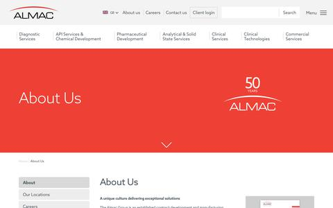 Screenshot of About Page almacgroup.com - About Us - captured Oct. 30, 2019