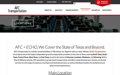 Screenshot of Locations Page afchouston.com - Locations - North Texas, Central Texas, East Texas - AFC Transportation - captured Nov. 19, 2016