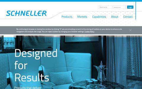 Screenshot of Home Page schneller.com - Aircraft Interior Designs   Thermoplastics   Schneller - captured Oct. 2, 2018