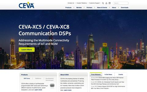 Screenshot of Home Page ceva-dsp.com - CEVA- Leading licensor of semiconductor IP platforms - captured Jan. 22, 2016