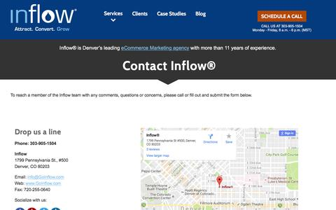 Screenshot of Contact Page goinflow.com - Contact Inflow®, eCommerce Inbound Marketing Experts - captured Oct. 13, 2016