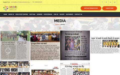 Screenshot of Press Page sarthakfoundation.org captured May 27, 2017