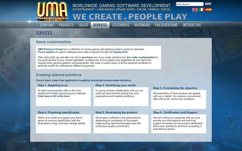 Screenshot of Services Page umapremium.com - Game customization | UMA Premium Group LLC - captured Oct. 3, 2014