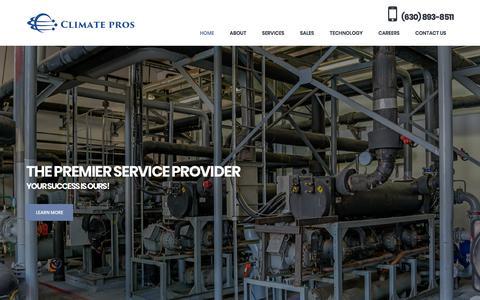 Screenshot of Home Page climateprosinc.com - HVAC and Refrigeration Full Service Provider | Climate Pros | Chicagoland | 630.893.8511 - captured Aug. 9, 2019