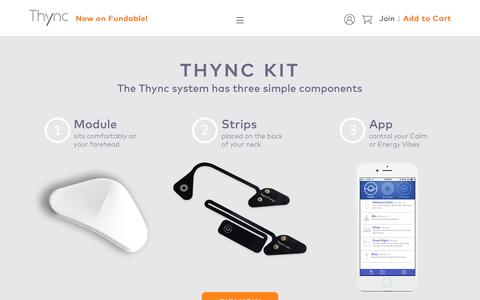 Screenshot of Products Page thync.com - Products - captured Oct. 2, 2016