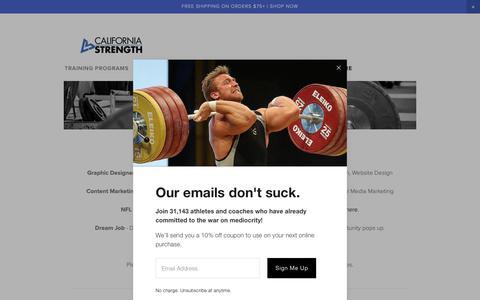 Screenshot of Jobs Page californiastrength.com - Work For Us — California Strength - captured Nov. 4, 2018