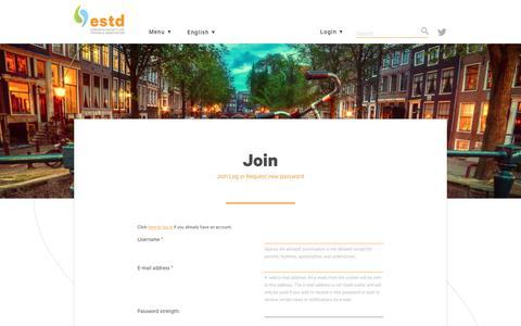 Screenshot of Signup Page estd.org - Join | ESTD - captured July 11, 2017
