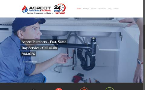 Screenshot of Home Page aspectplumbers.com - Trusted Naperville Plumber - Aspect Plumbing - (630) 504-0256 - captured Feb. 6, 2016