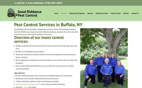 Screenshot of Services Page goodriddancepest.com - Services - Good Riddance Pest Control - captured May 21, 2017
