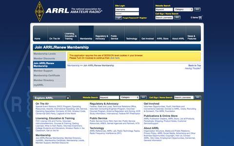 Screenshot of Signup Page arrl.org - Join ARRL/Renew Membership - captured Sept. 18, 2014