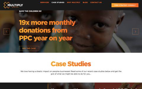 Screenshot of Case Studies Page multiplydigital.com.au - Case Studies Archive | Multiply Digital - captured July 7, 2018