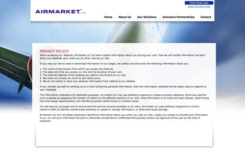 Screenshot of Privacy Page airmarketusa.com - Privacy Policy  -Airmarket LLC - captured Oct. 4, 2014