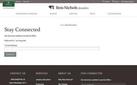 Screenshot of Signup Page reisnichols.com - Newsletter Signup : Reis-Nichols Jewelers - captured Nov. 7, 2017