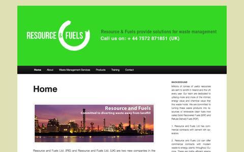 Screenshot of Home Page resourceandfuels.com - Resource and Fuels - captured Oct. 6, 2014