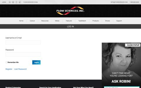 Screenshot of Login Page flowsciences.com - Log In - Flow Sciences - captured Oct. 14, 2017