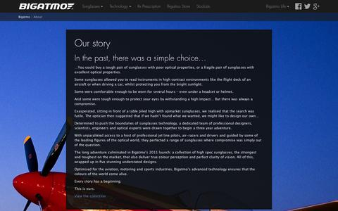 Screenshot of About Page bigatmo.com - About Bigatmo Sunglasses: Sunglasses for pilots - captured Oct. 5, 2014