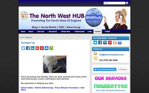 Screenshot of Contact Page thenorthwesthub.com - Contact The North West HUB - captured Aug. 28, 2016