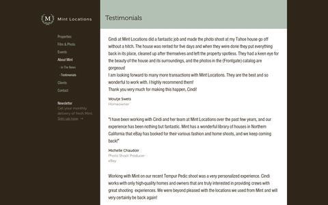 Screenshot of Testimonials Page mintlocations.com - Testimonials | Mint Locations - captured Dec. 16, 2016