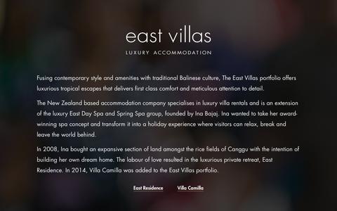 Screenshot of Home Page east-villas.com - East Villas | Luxury Accommodation - captured Jan. 26, 2015