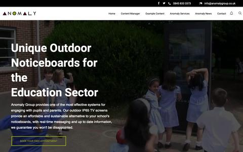 Screenshot of Home Page anomalygroup.co.uk - Outdoor Noticeboards for Schools   Unique Outdoor Digital Signage - captured Nov. 12, 2018