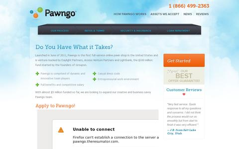 Screenshot of Jobs Page pawngo.com - Sitemap | Pawngo | The Online Pawn Shop  | Pawngo - captured July 19, 2014