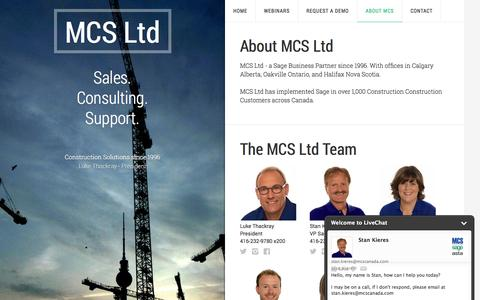 Screenshot of About Page mcscanada.com - About MCS Ltd - captured Oct. 4, 2014