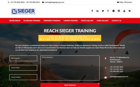 Screenshot of Contact Page siegergroups.com - Outbound Training , Outdoor Adventure , Corporate Training , Placement Training , Summer Camp  | Sieger Training India - captured Sept. 23, 2017
