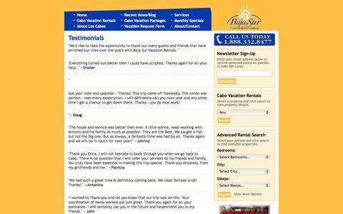 Screenshot of Testimonials Page bajasurvacationrentals.com - Testimonials | BajaSurVacationRentals.com - captured Sept. 30, 2014
