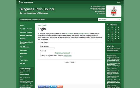 Screenshot of Login Page skegness.gov.uk - Login   Skegness Town Council - captured Dec. 1, 2016