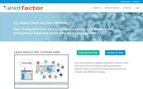 Screenshot of Trial Page netfactor.com - Website Visitor Tracker Software, Track Site Visitors - captured May 9, 2017