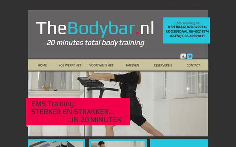 Screenshot of Home Page thebodybar.nl - TheBodybar.nl EMS training, Fitness met snel resultaat - captured Oct. 7, 2014