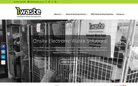 Screenshot of Home Page iwaste.co.uk - iWaste | Specialists in WEEE Recycling & Secure Data Destruction| - captured Feb. 11, 2016
